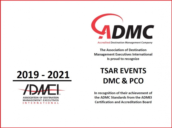 ADMEI and the Destination Management Company (DMC) Accreditation Commission recognized Tsar Events DMC & PCO for renewing its Accredited Destination Management Company (ADMC) designation.