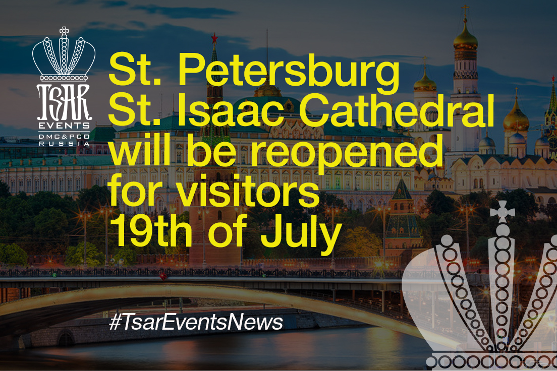 St. Petersburg St. Isaac Cathedral will be reopened for visitors 19th of July