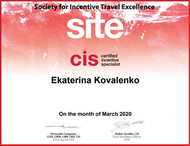 Ekaterina Kovalenko, Project Manager at Tsar Events Russia DMC & PCO has got CIS (Certified Incentive Specialists) Designation by SITE (Society of Incentive Travel Excellence)