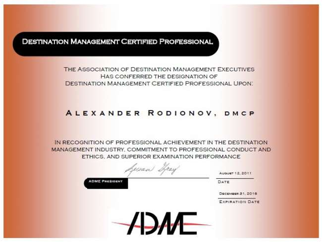 The First Destination Managment Certified Professional (DMCP) outside of North America & First in Russia