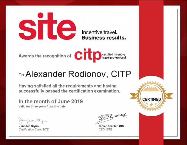 The First CITP (Certified Incentive Travel Professionals) in Russia: Alexander Rodionov