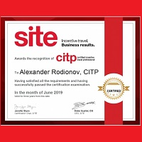 Tsar Events' Managing Director & Owner Alexander Rodionov has become the FIRST CITP (CERTIFIED INCENTIVE TRAVEL PROFESSIONALS) in Russia!